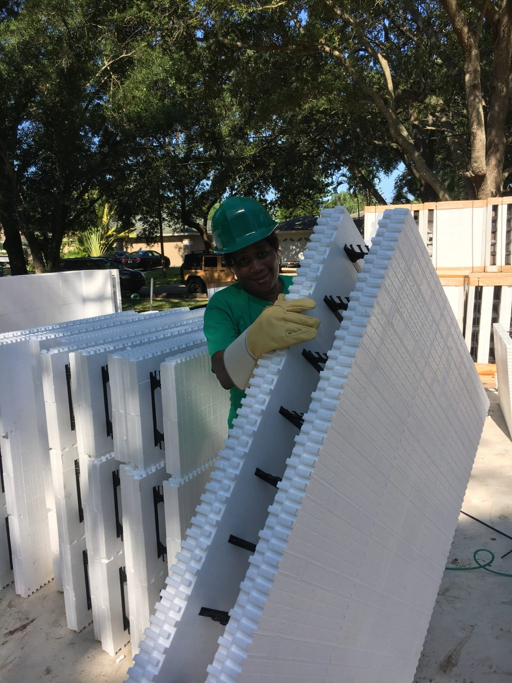 Future Habitat Sarasota homeowner moves ICF foam panel.