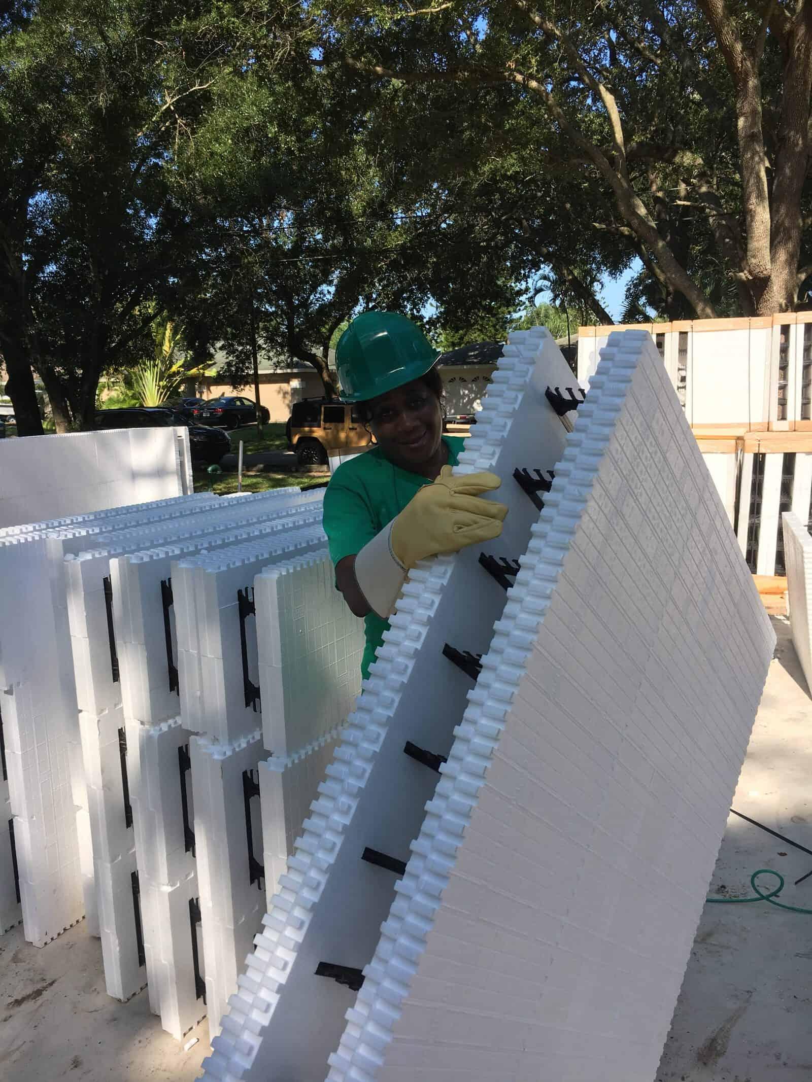 Future Habitat Sarasota homeowner moves ICF foam panel.
